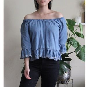 Off-the-Shoulder Denim Peasant Top